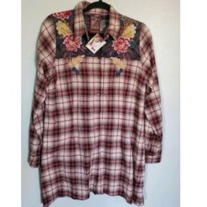 Johnny Was 3J Plaid Embroidered Top